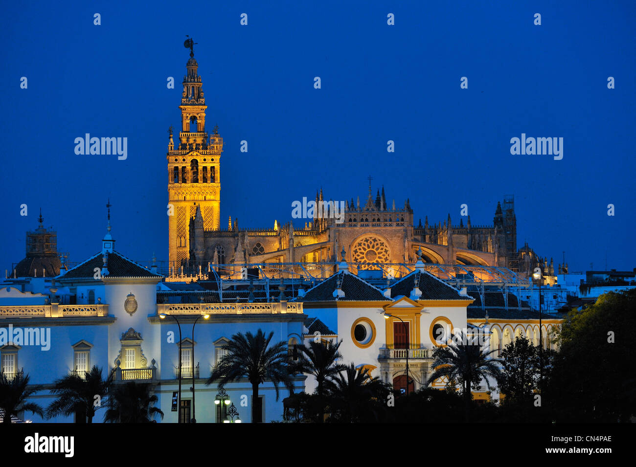 Spain, Andalucia, Seville, La Maestranza at fore (Plaza de toros) and the Cathedral with the Giralta tower at back, - Stock Image