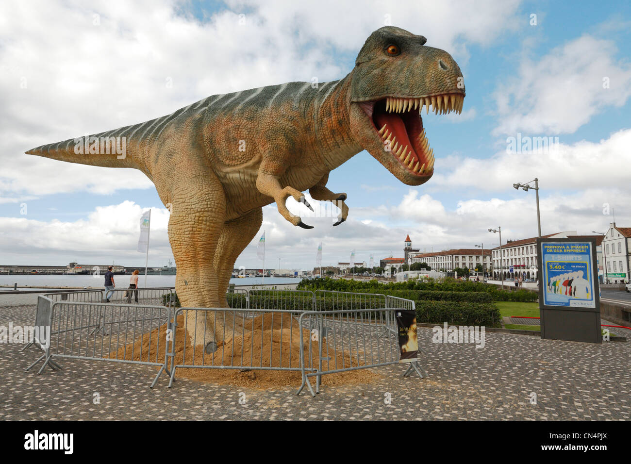 Menacing Tyrannosaurus Rex dinosaur in the portuguese city of Ponta Delgada. Azores islands - Stock Image