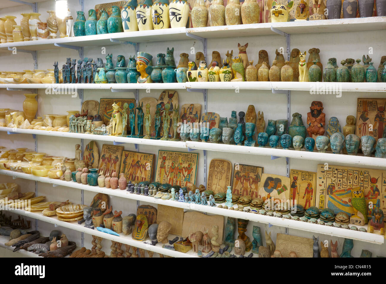 Egypt - shop with alabaster and basaltic souvenirs, Aswan, Egypt - Stock Image