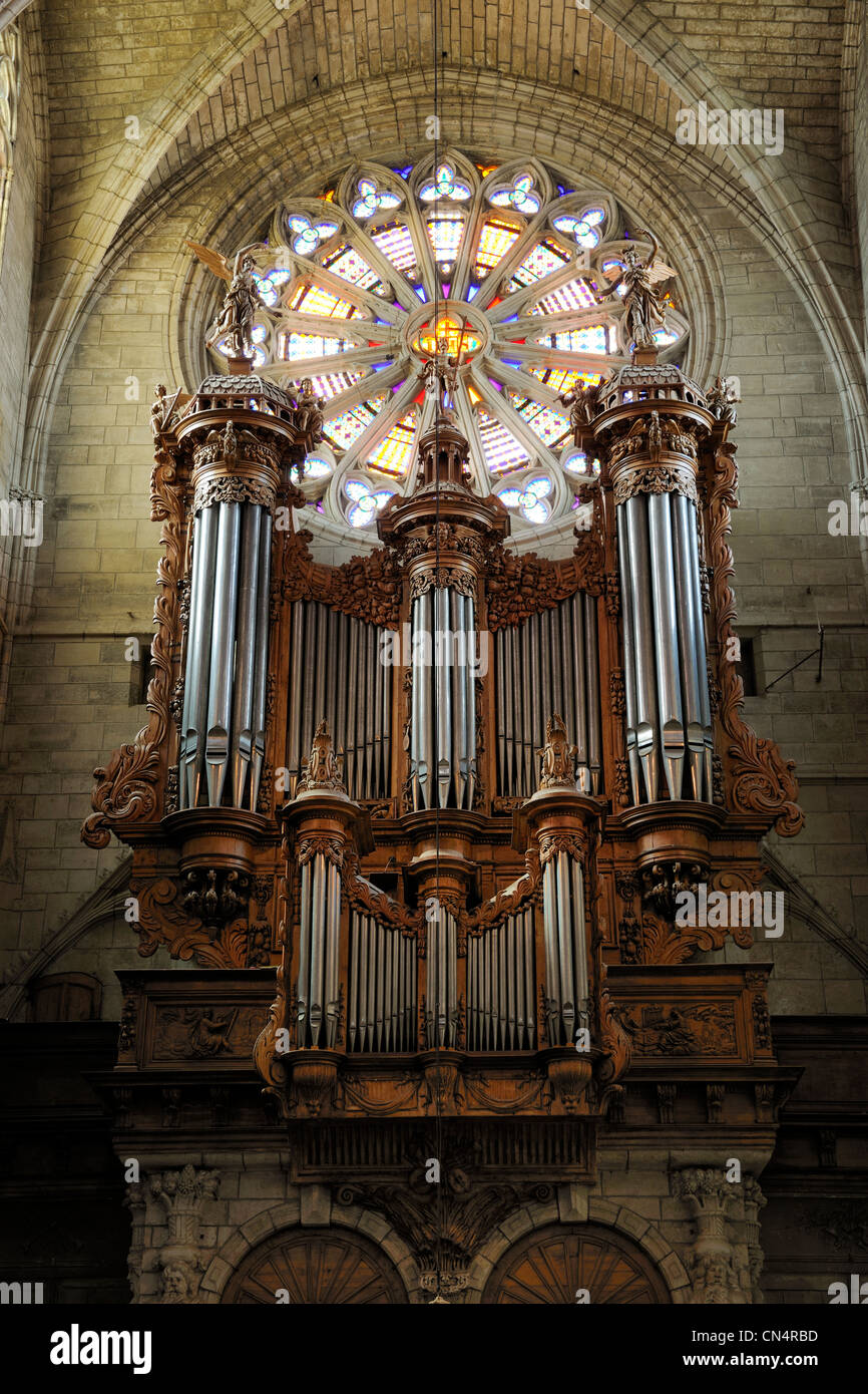 France, Herault, Beziers, St Nazaire Cathedral, the organ - Stock Image