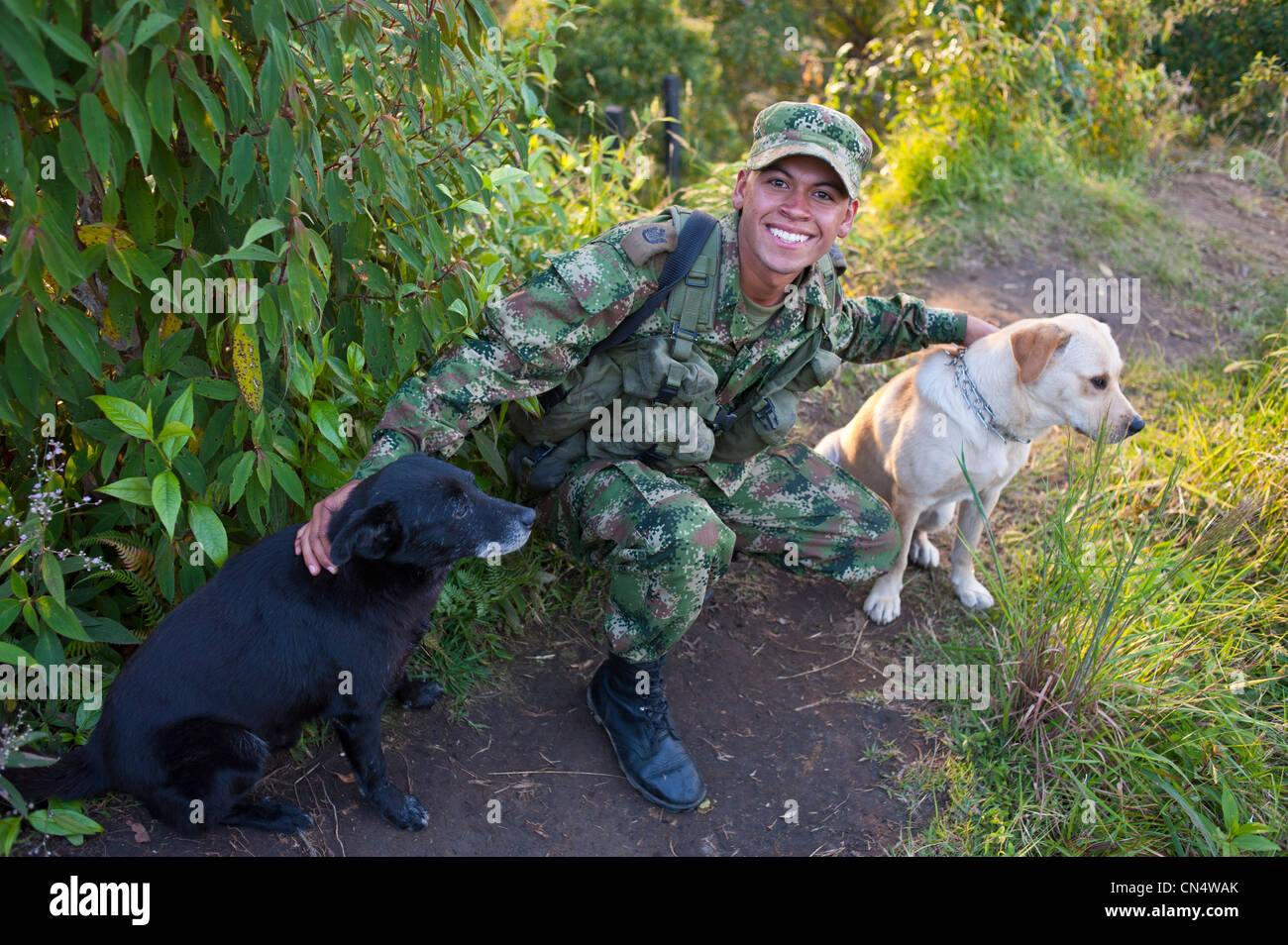 Columbia, Quindio Department, Zona Cafetera (the Coffee Area), Salento village, the colombian army - Stock Image