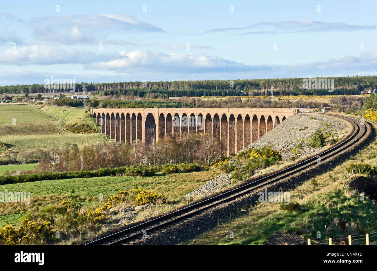 The famous Nairn railway Viaduct near Culloden south east of Inverness in Highland Scotland - Stock Image
