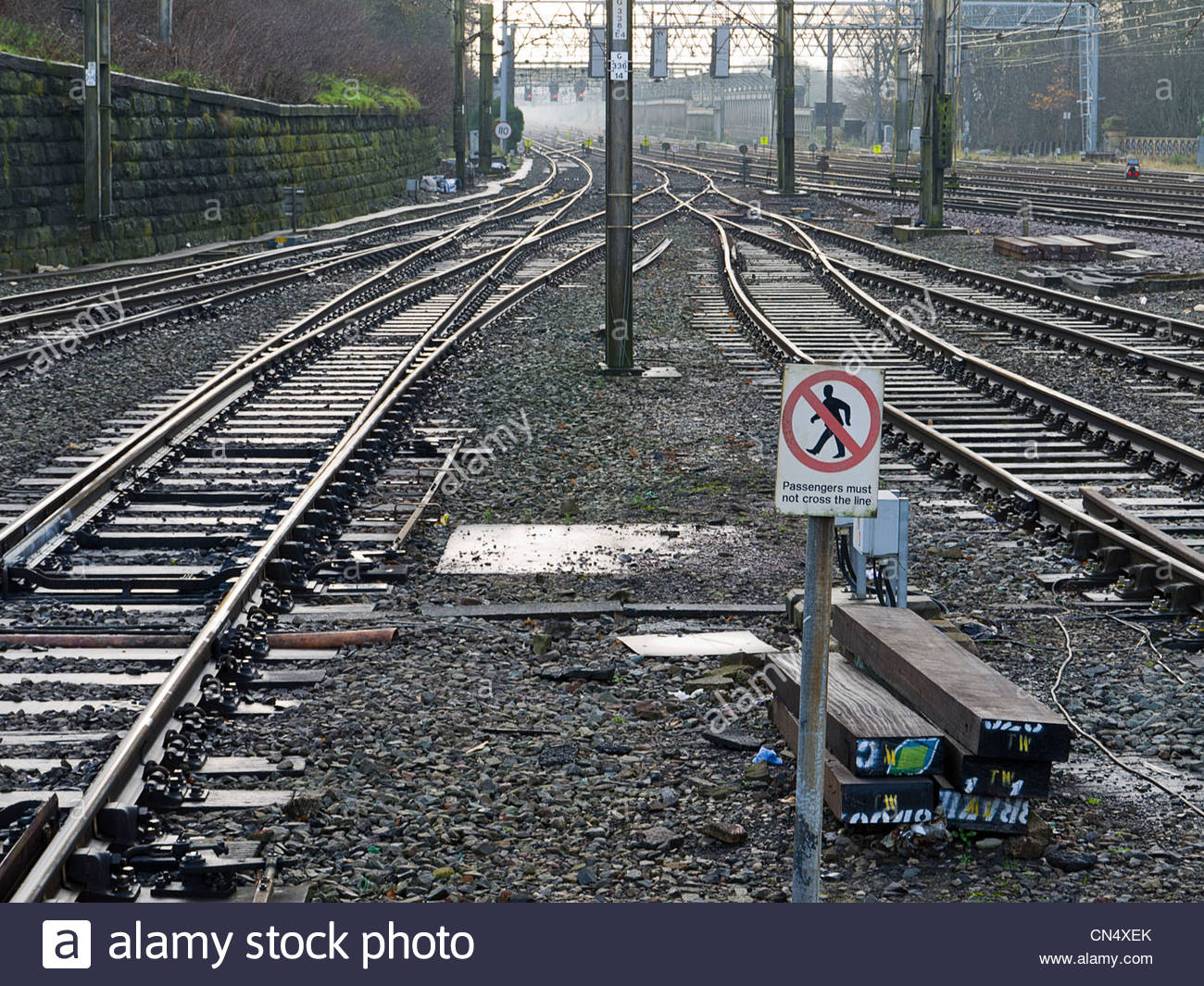 Railway Lines Junction Danger Passengers do not Cross - Stock Image