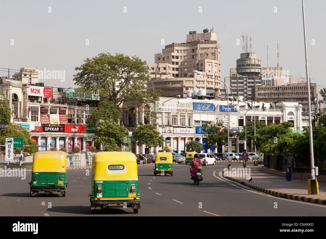 Busy street scene in Dehli, India - Stock Image