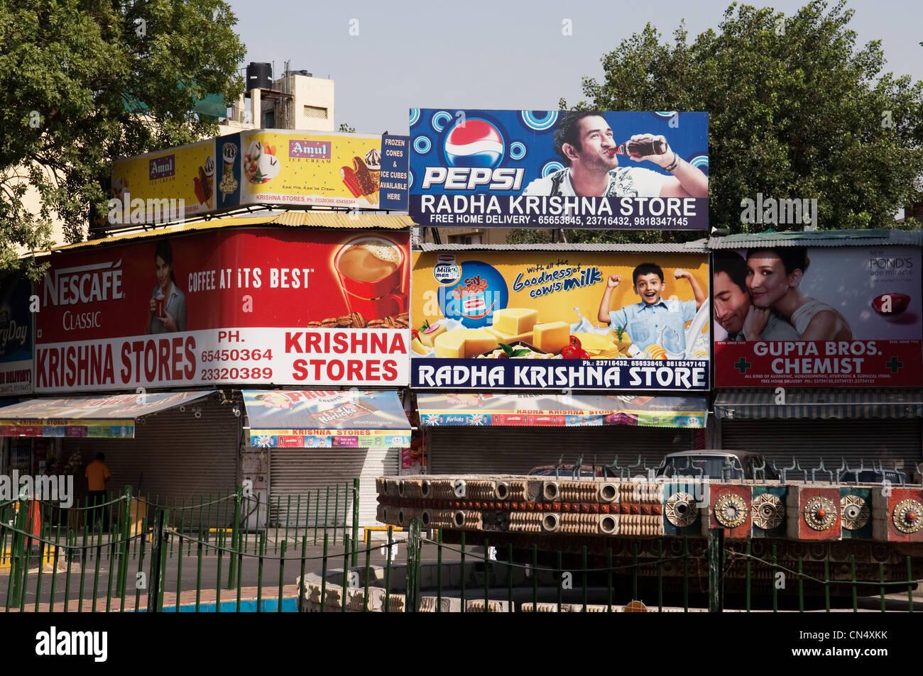 Billboards in Dehli, India - Stock Image
