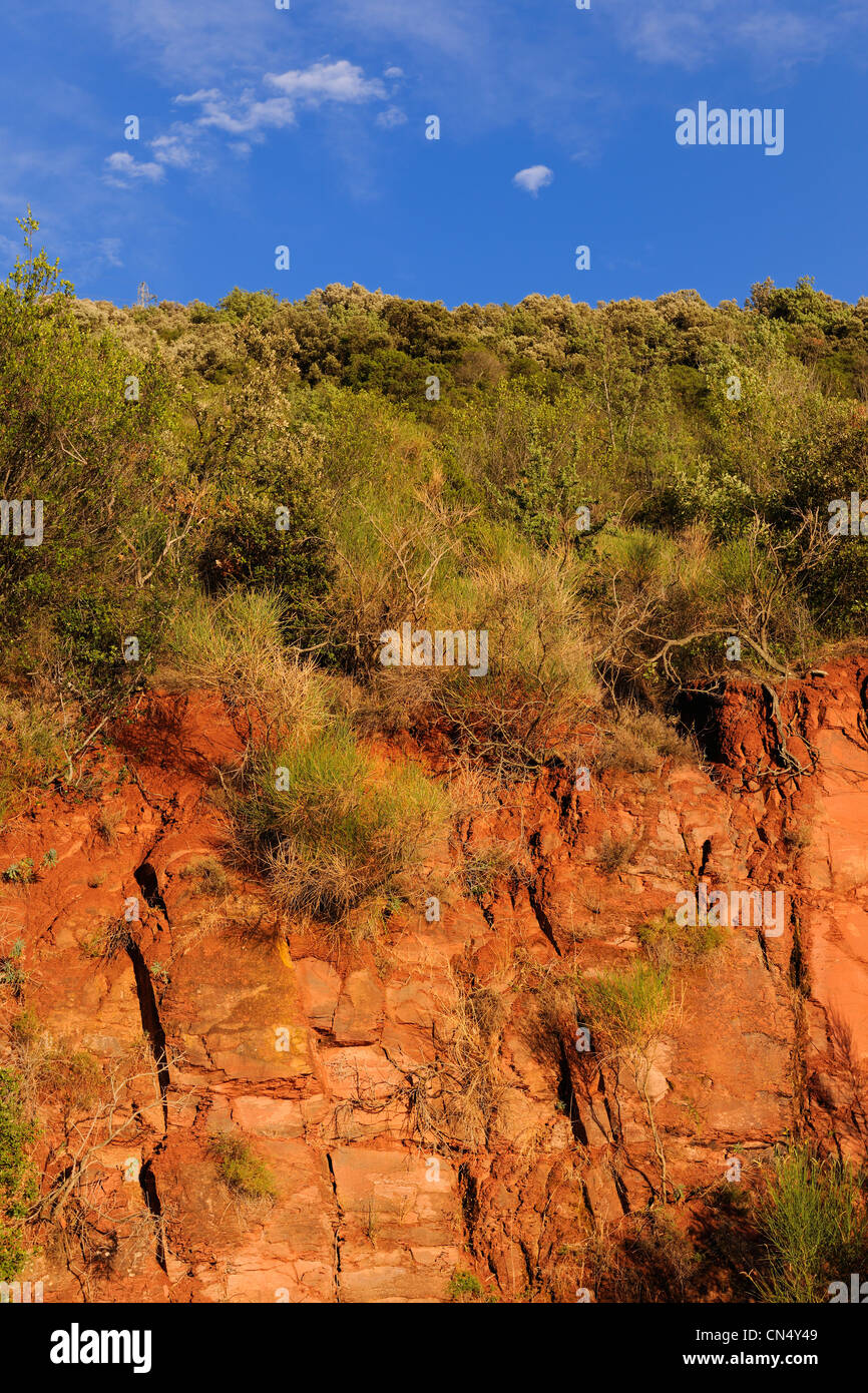 France, Herault, red rocks from the borders of the Salagou Lake - Stock Image