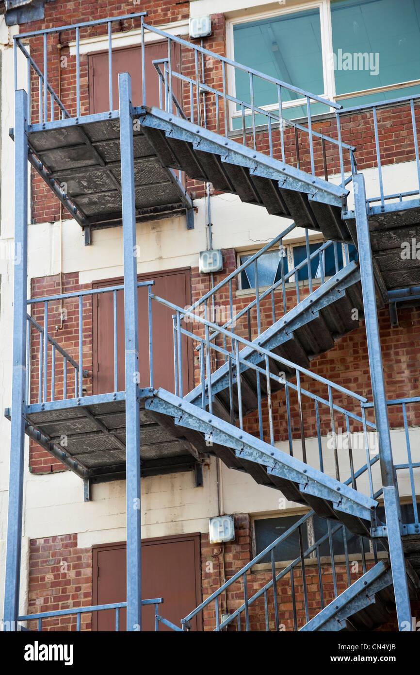 Building fire escape exit, UK - Stock Image