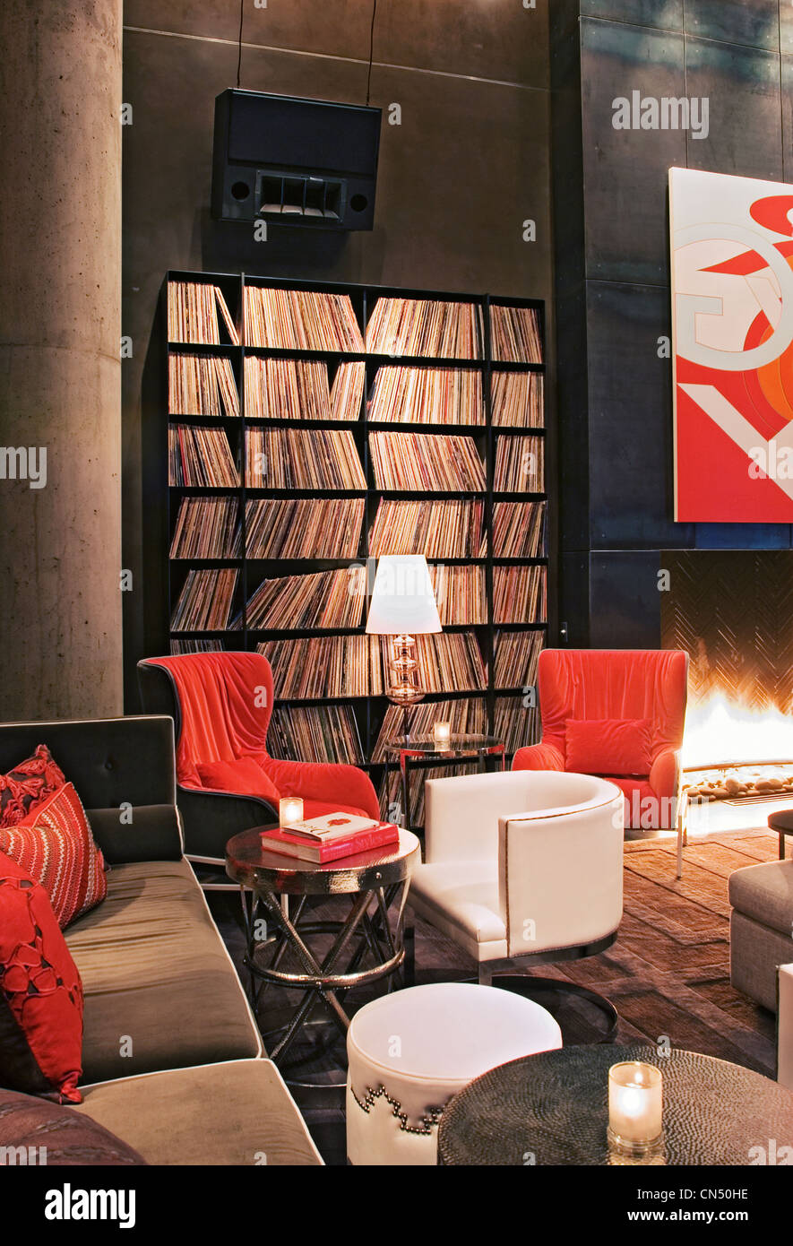 Living Room at the W Austin Hotel - Stock Image