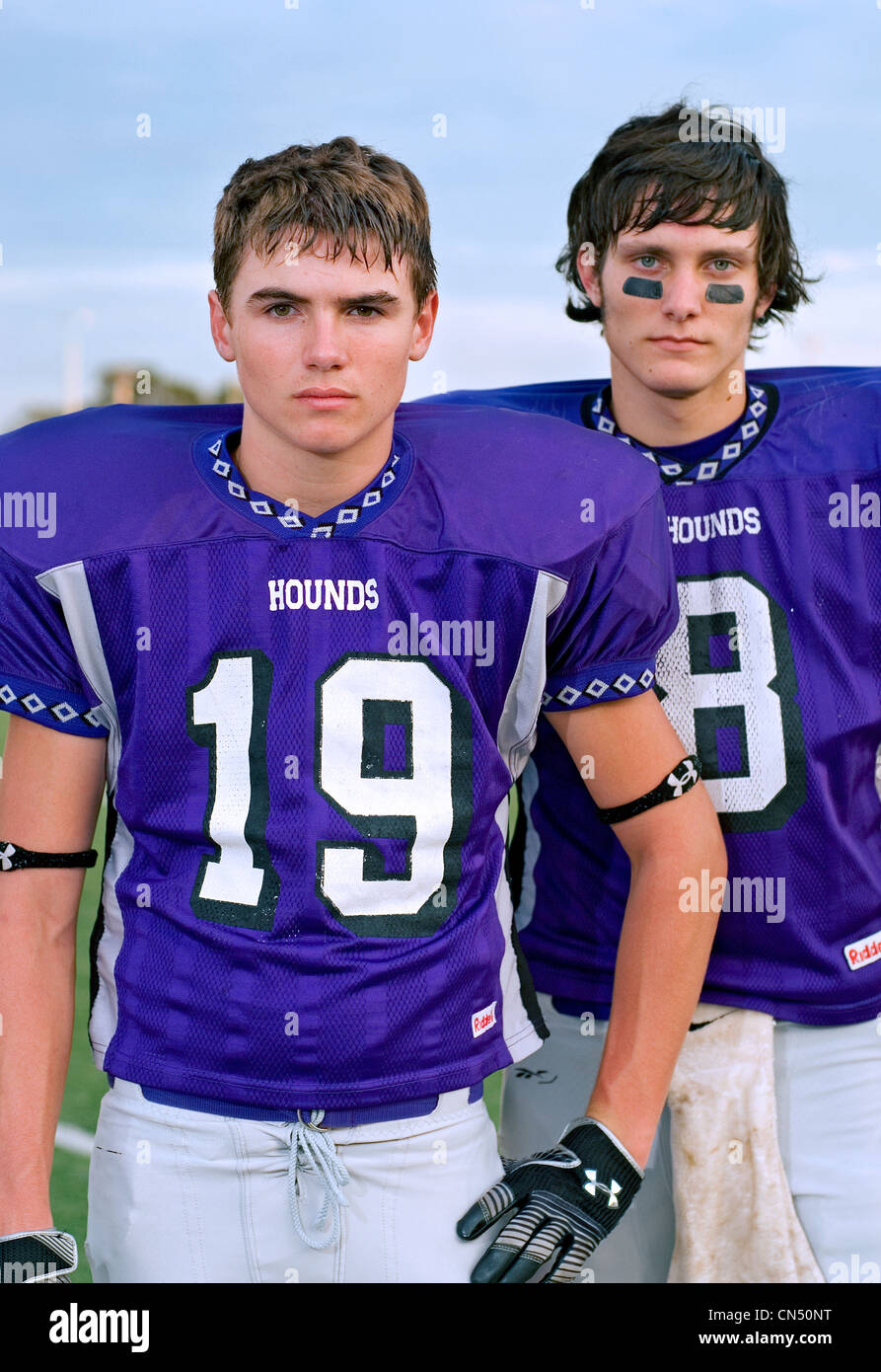 Football players. Boerne, TX. - Stock Image