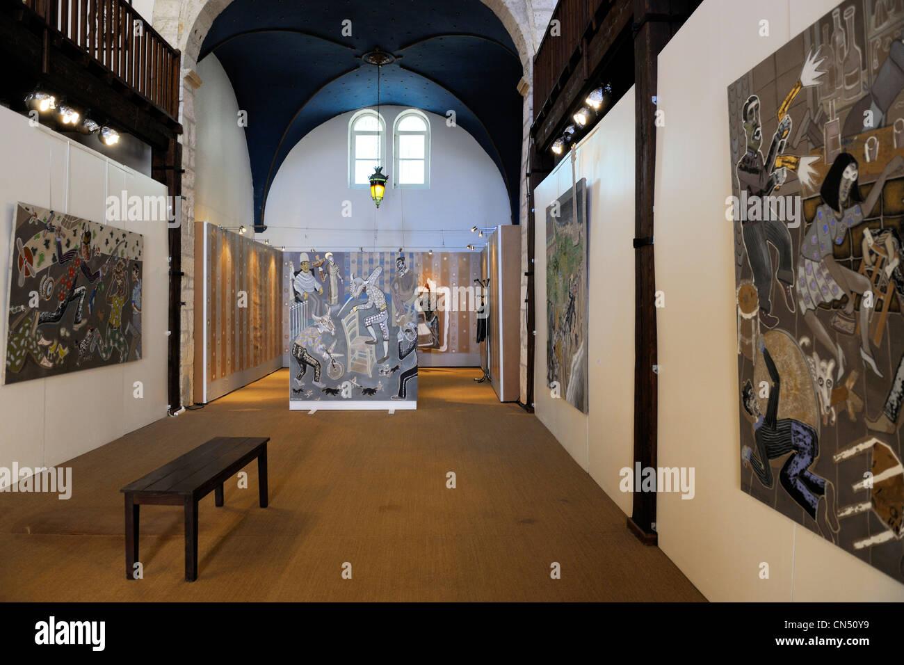 France, Herault, Sete, Frontignan Museum, exhibition from the artist Andre Cervera, Serie couleur pour roman noir - Stock Image
