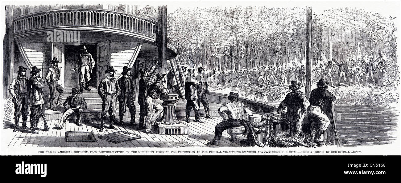 American Civil War 1861 - 1865 refugees from Southern cities on the Mississippi river look for protection on federal - Stock Image