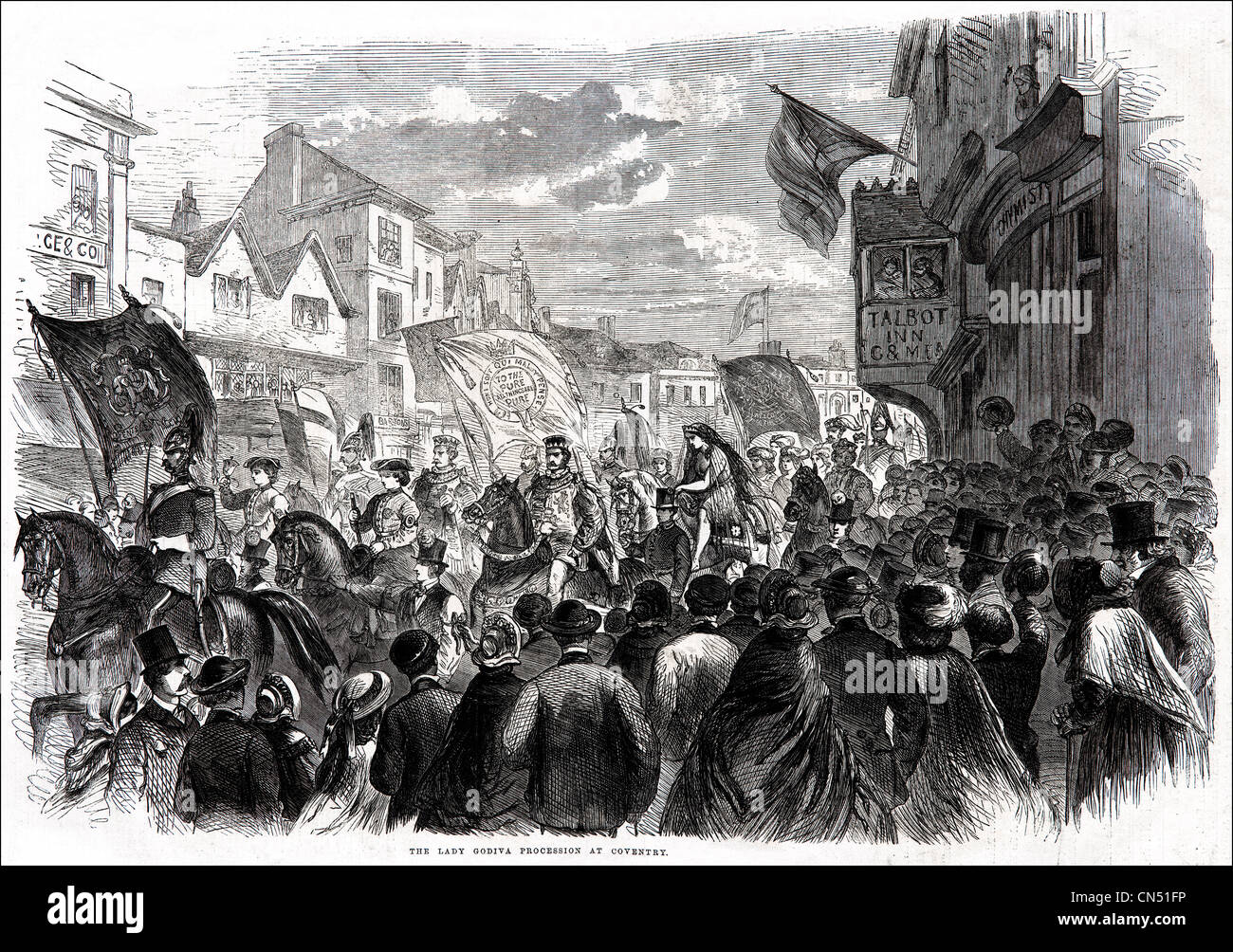 Lady Godiva procession through Coventry Victorian engraving dated 5th July 1862 Stock Photo