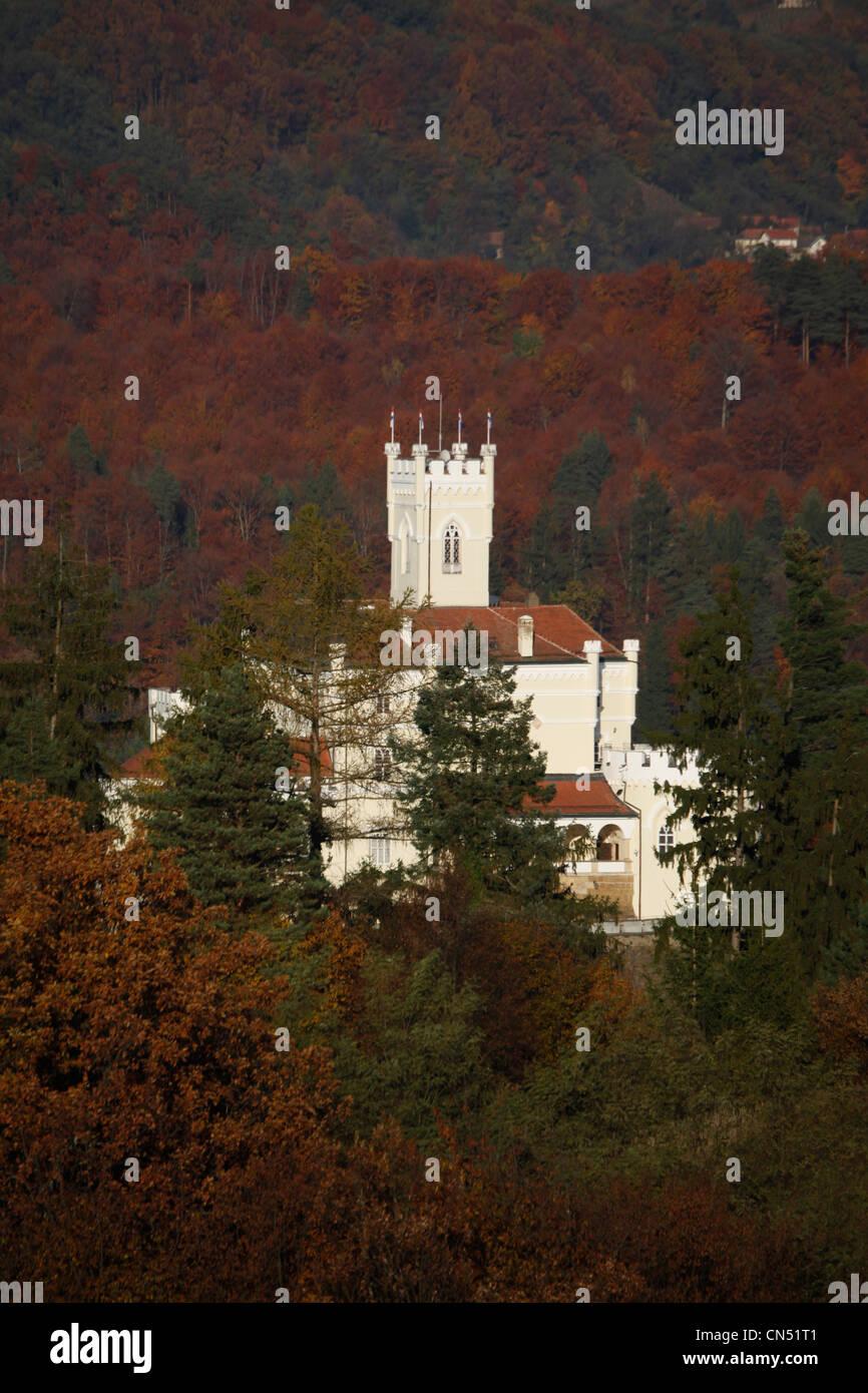 Croatia, Varazdin county, Trakoscan, park, lake and historic castle of the powerful and wealthy family Draskovic, - Stock Image