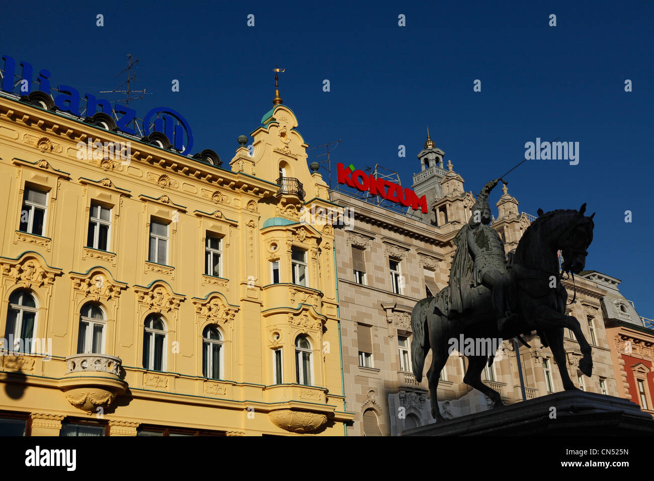 Croatia, Zagreb, the central square with the statue of Ban Josip Selacie Stock Photo