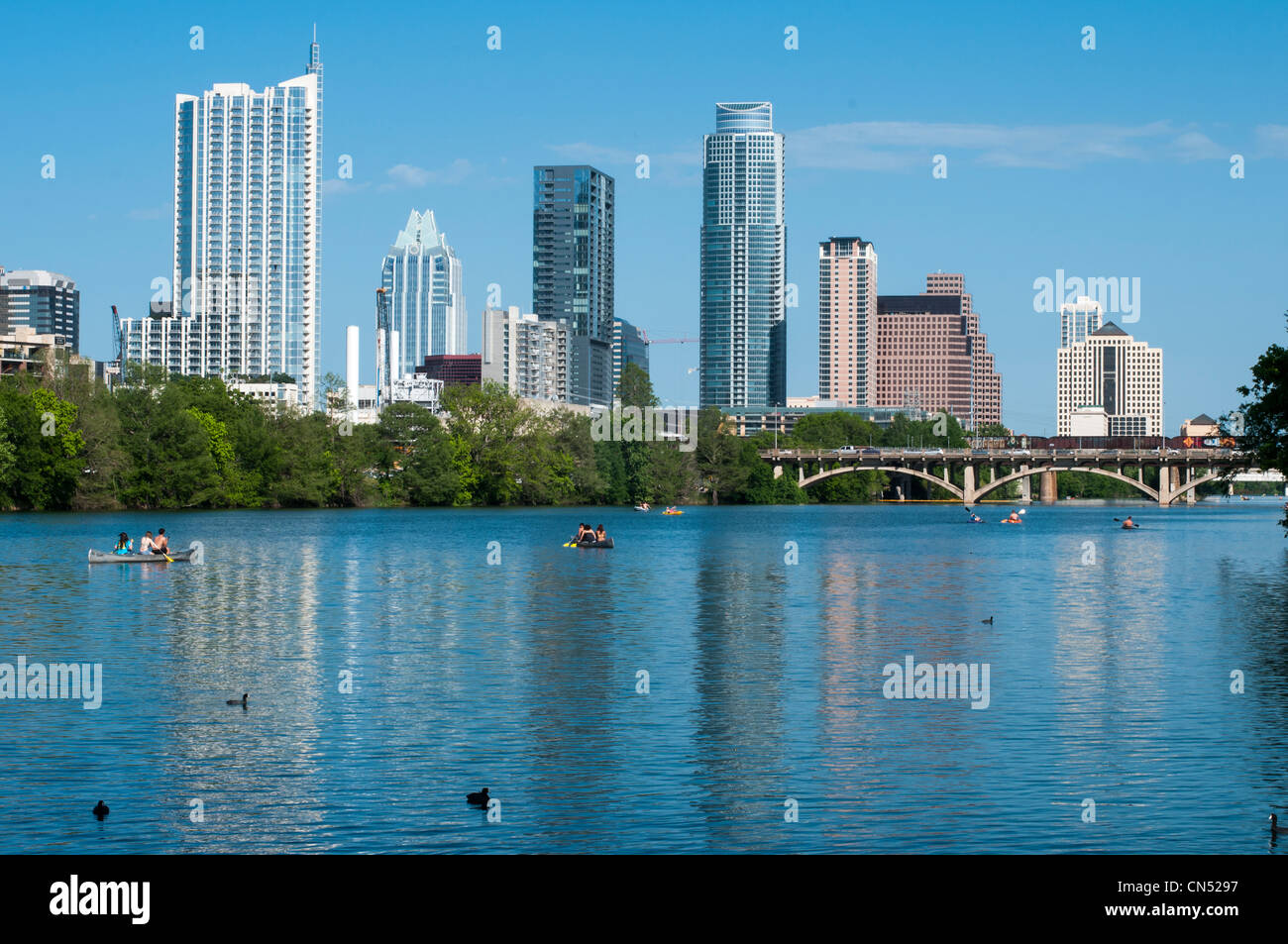 Austin skyline on a sunny afternoon from lou neff point in Zilker Park - Stock Image