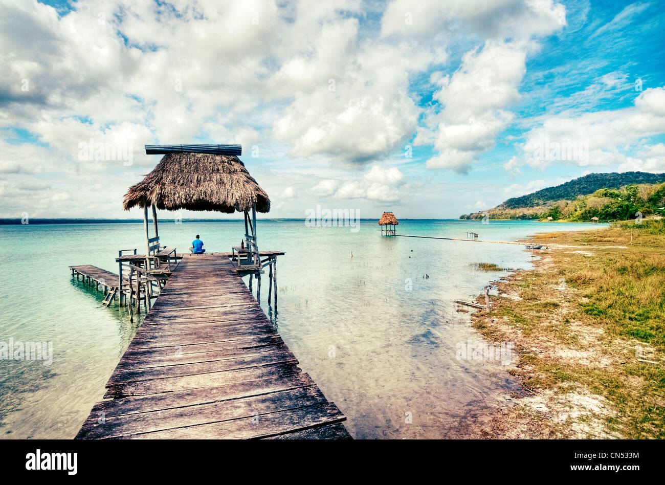 Docks on Lake Peten Itza, Guatemala in the village of El Remate. - Stock Image