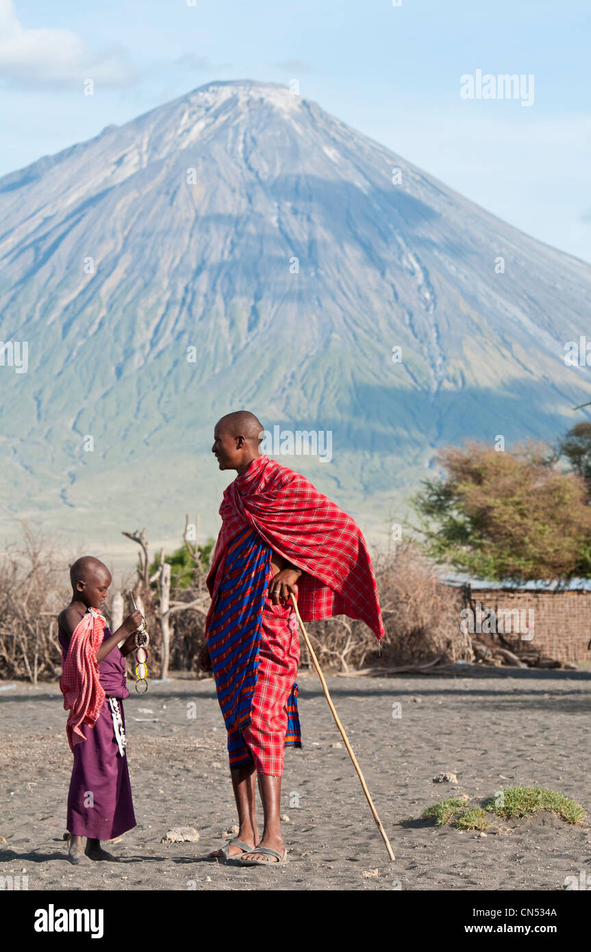 Tanzania, Arusha Region, Rift Valley, surroundings of lake Natron, the Oldoinyo Lengai, holy Maasai mountain - Stock Image