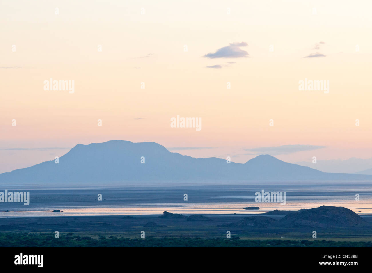 Tanzania, Arusha Region, Rift Valley, the lake Natron at sunrise Stock Photo
