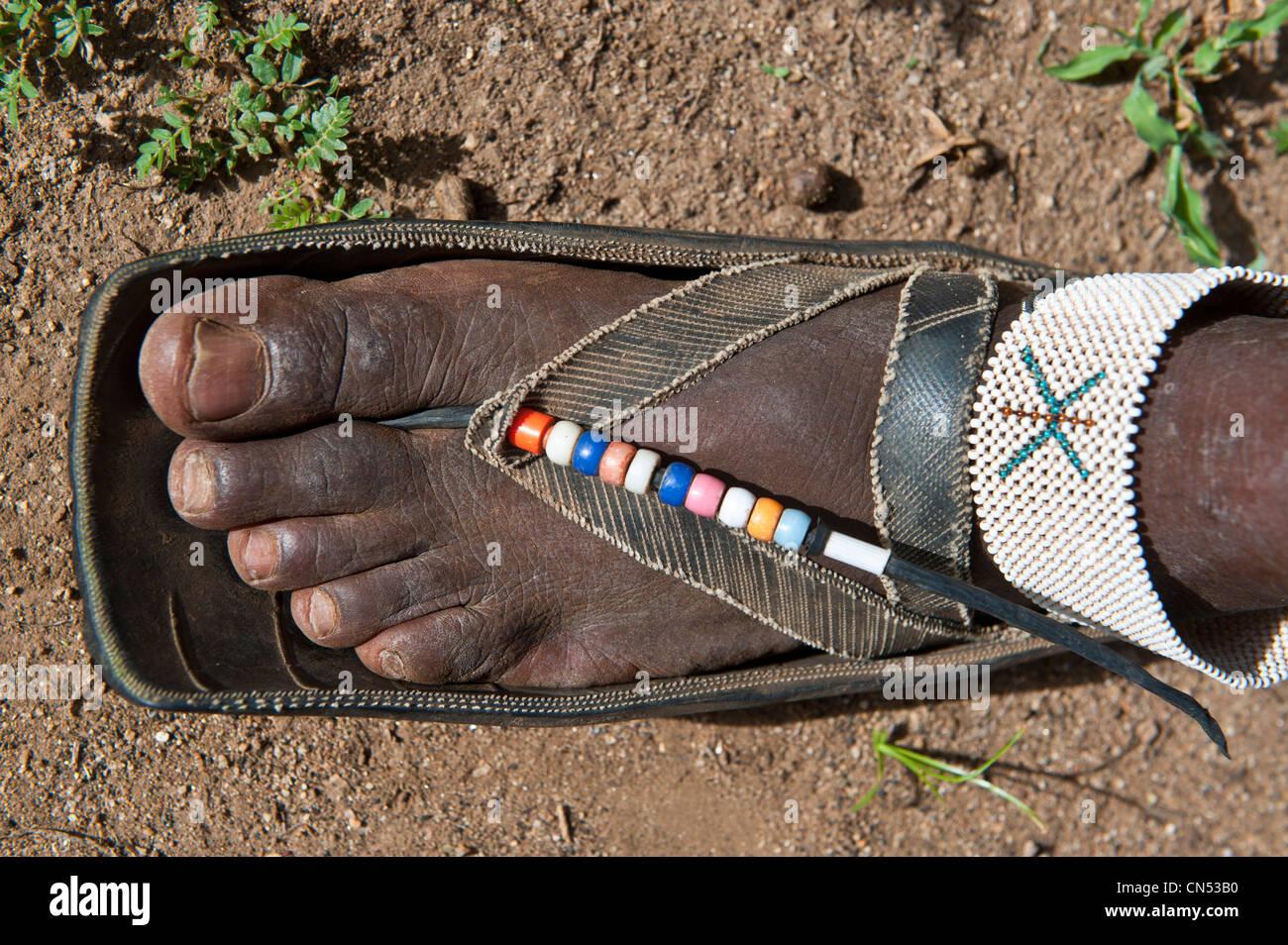 Tanzania, Arusha region, Maasai country, Longido Volcano, detail of a Maasai shoe - Stock Image