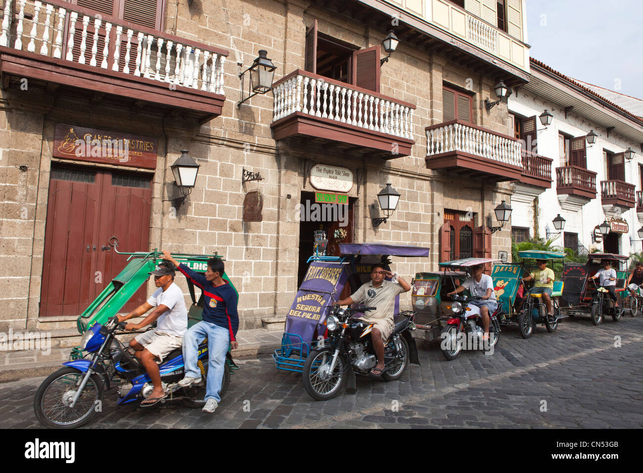 Philippines, Luzon island, Manila, Intramuros historic district, the motorbike taxi - Stock Image