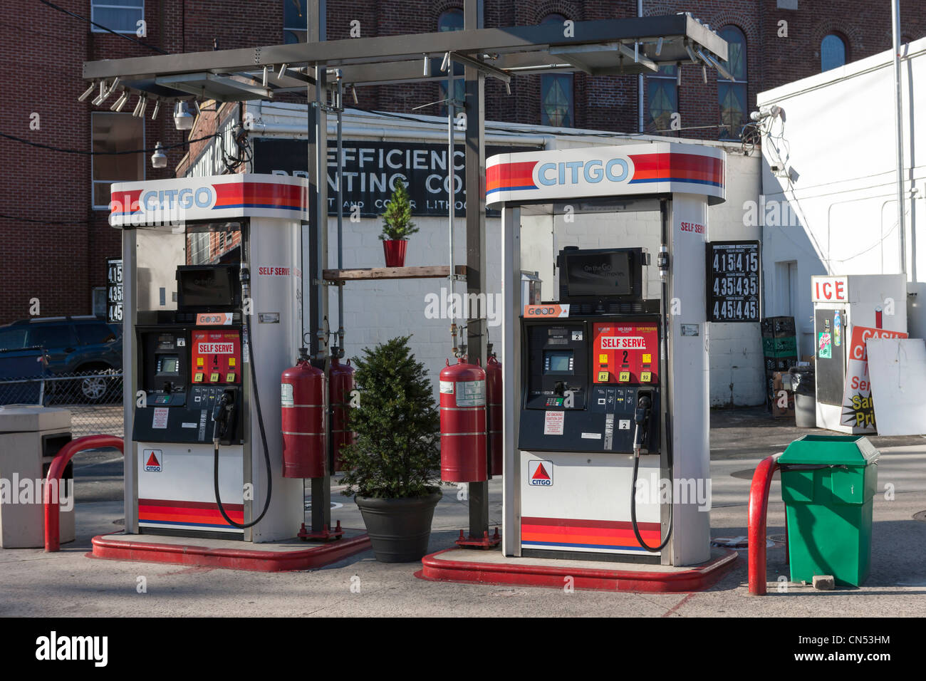Self serve gasoline pumps at a Citgo gasoline station in White Plains, New York. Stock Photo