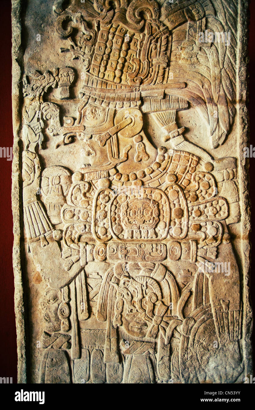 A Mayan stelae from the site of Dos Pilas on display in Guatemala City's National Archaeology Museum. - Stock Image