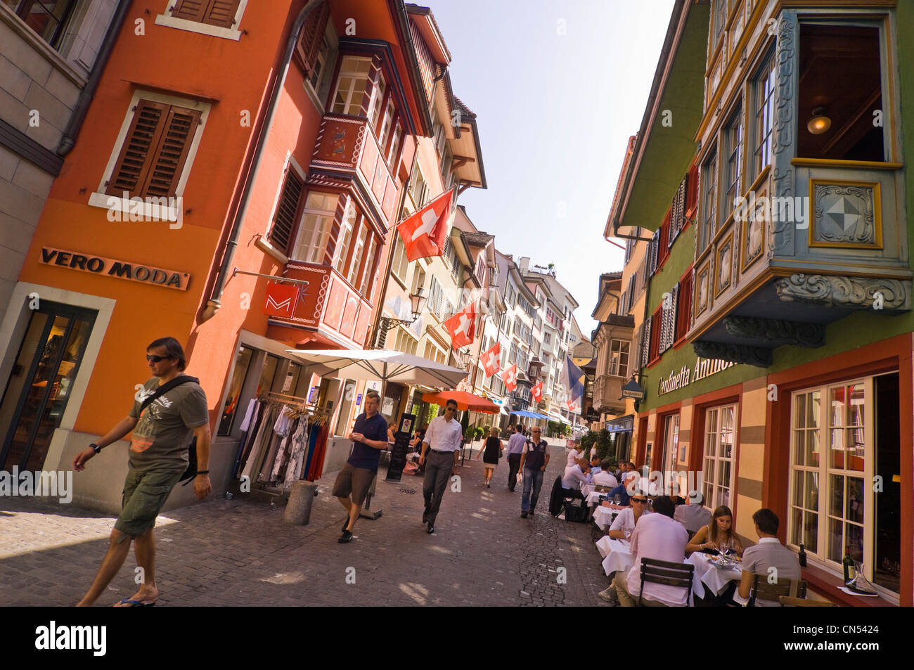 d02479527230c Horizontal wide angle cityscape of Augustinergasse, a popular  pedestrianised street in Lindenhof in Zurich on
