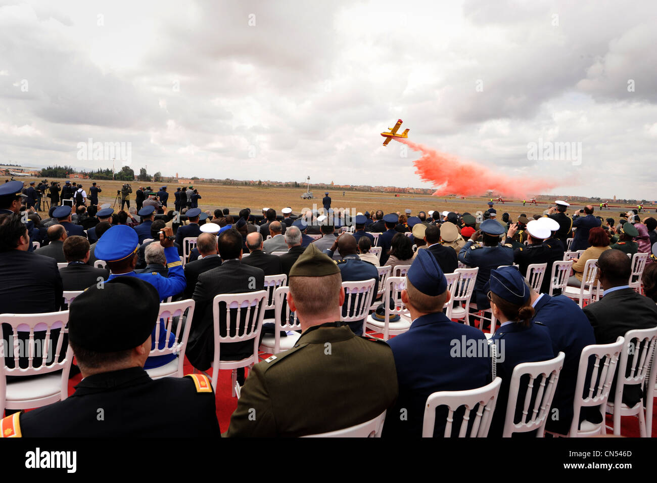 MARRAKECH, Morocco – A Royal Moroccan Air Force CL-415 performs for a crowd during the opening ceremonies at the - Stock Image