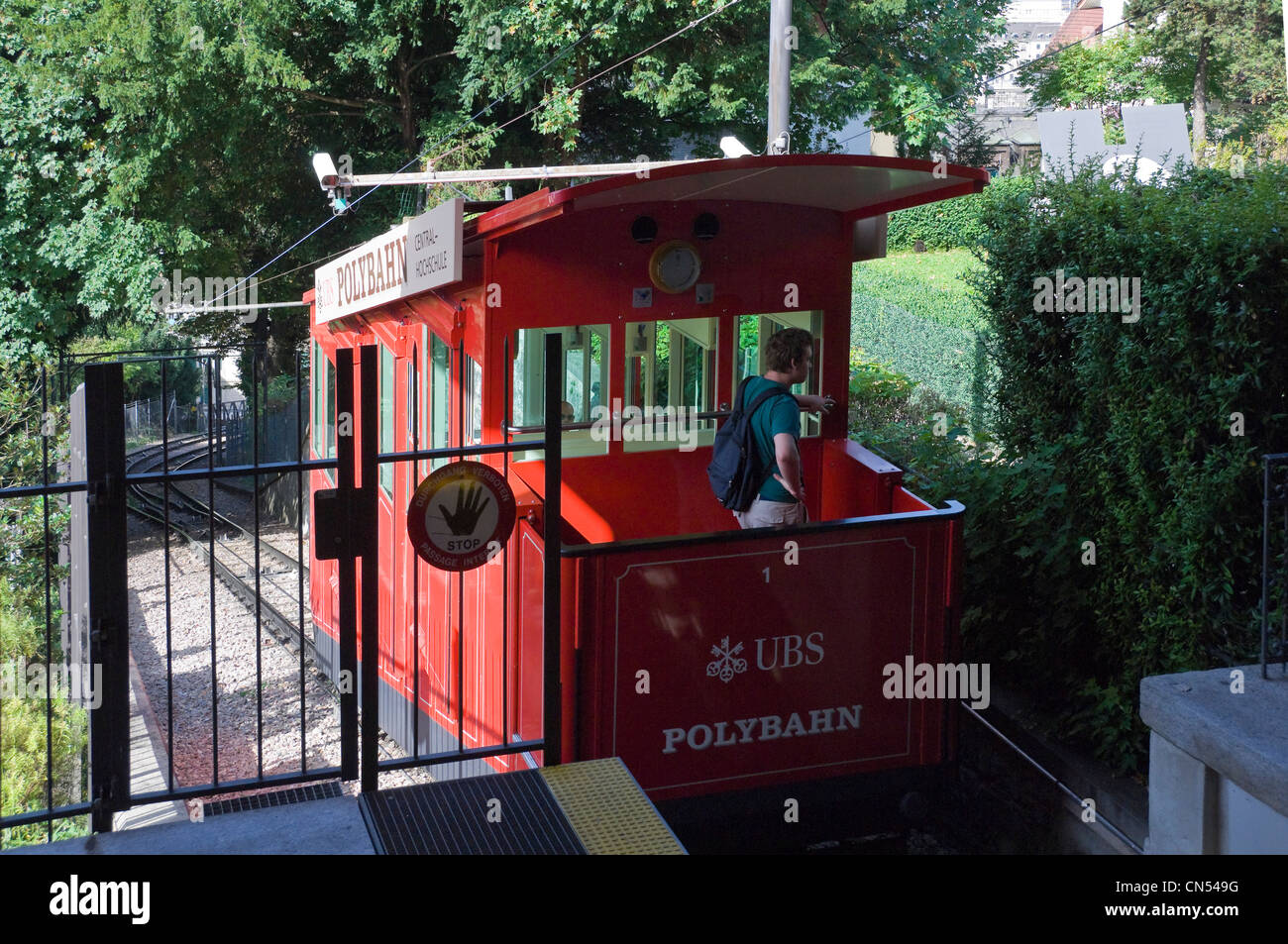 Horizontal view of the UBS Polybahn funicular railway at Eidgenössisches Polytechnikum station on a sunny day. Stock Photo