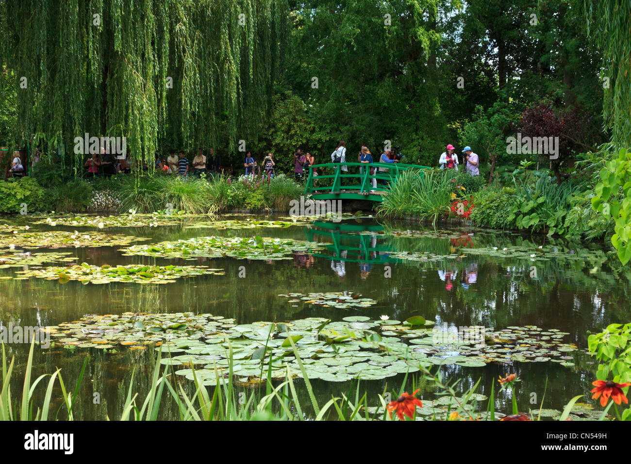 Lily Pond And Bridge, Monetu0027s Garden, Giverny, Normandy, France.   Stock