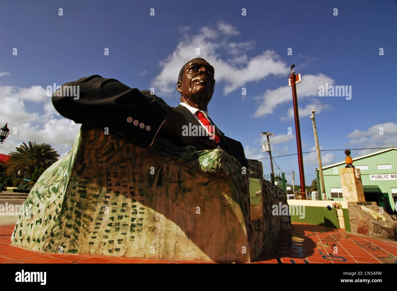 Antigua and Barbuda, Antigua island, St John's, statue of Sir Vere Cornwall Bird, father of the Nation - Stock Image