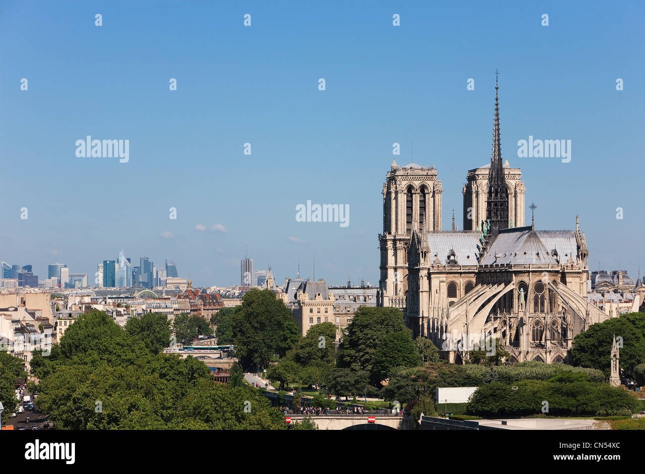 France, Paris, panorama over Notre Dame de Paris cathedral with the banks of the Seine river listed as World Heritage - Stock Image