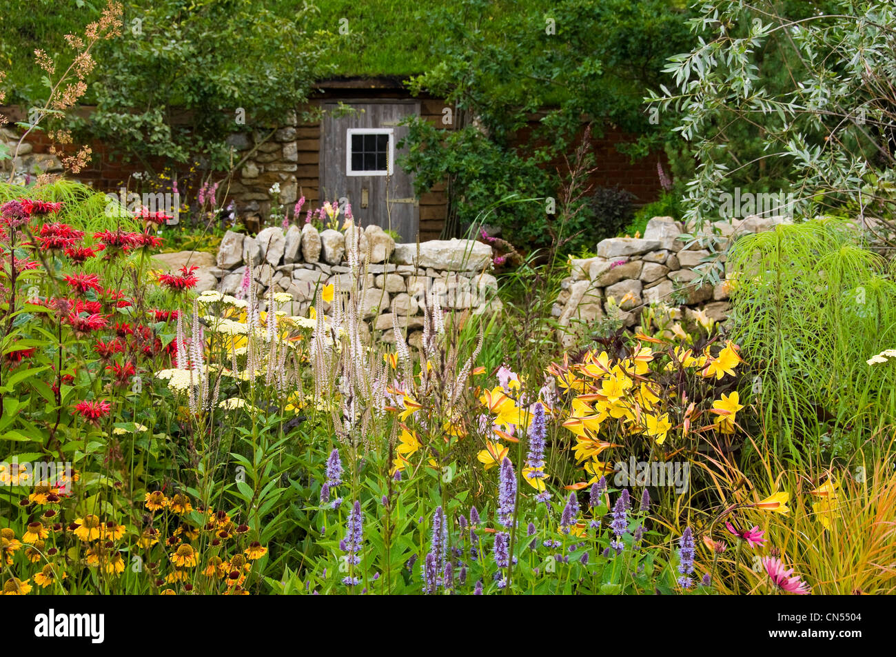 Horizontal view of a traditional wildlife-friendly country cottage garden with plants in bloom. - Stock Image