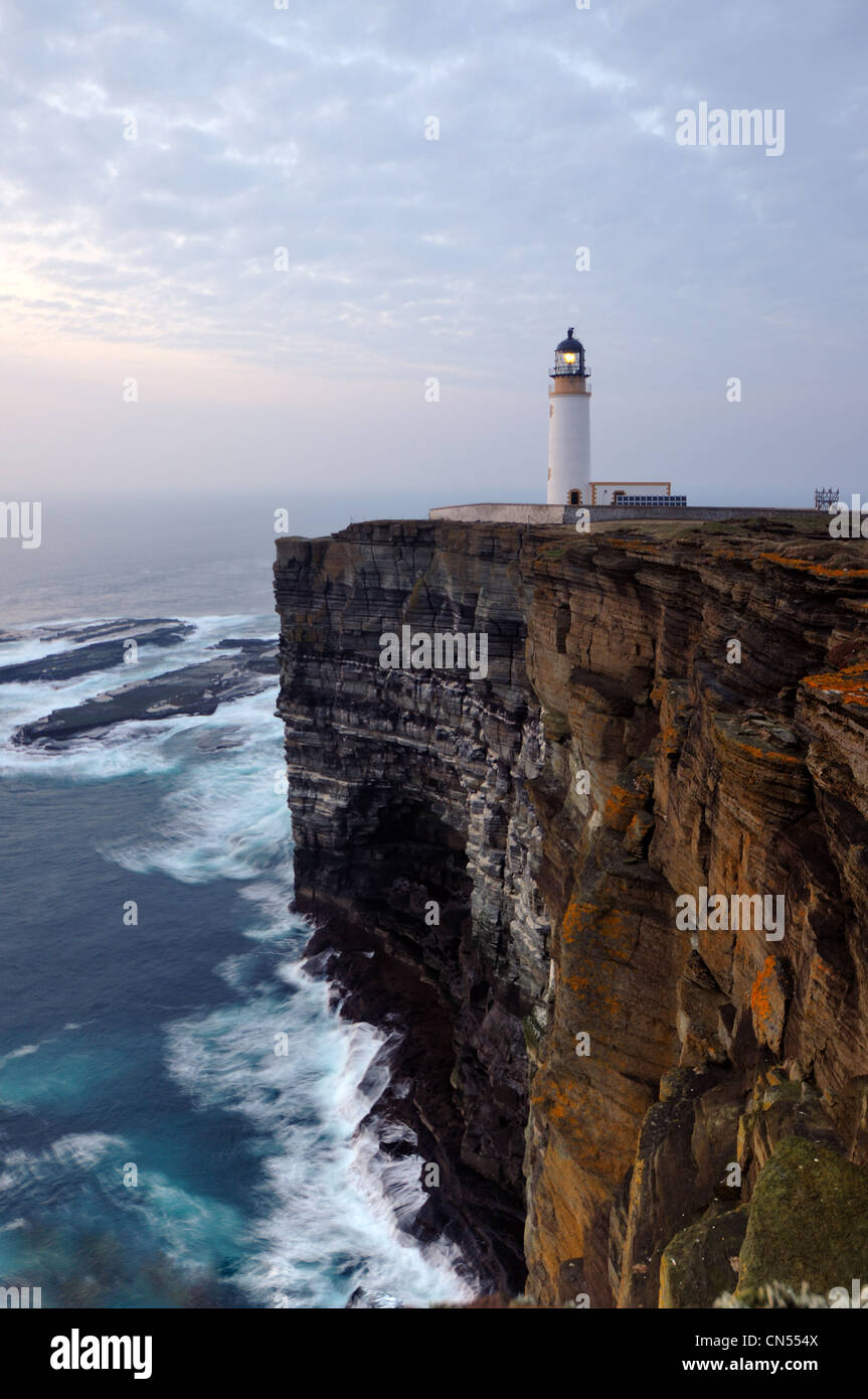 Noup Head Lighthouse in the evening, Westray, Orkney - Stock Image