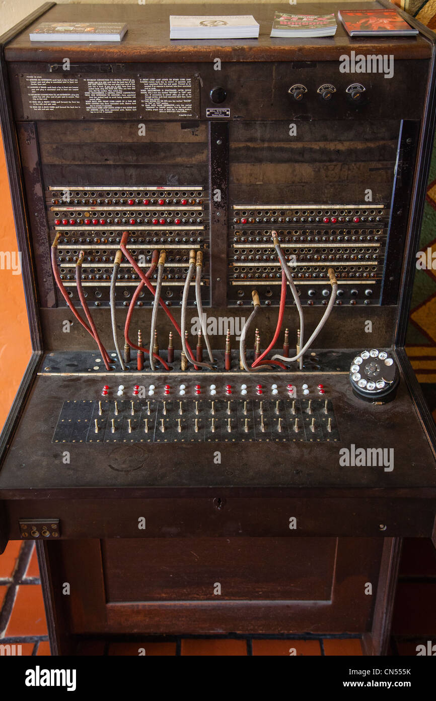 Antique telephone switchboard in the lobby of the Congress Hotel, Tucson, Arizona. - Stock Image