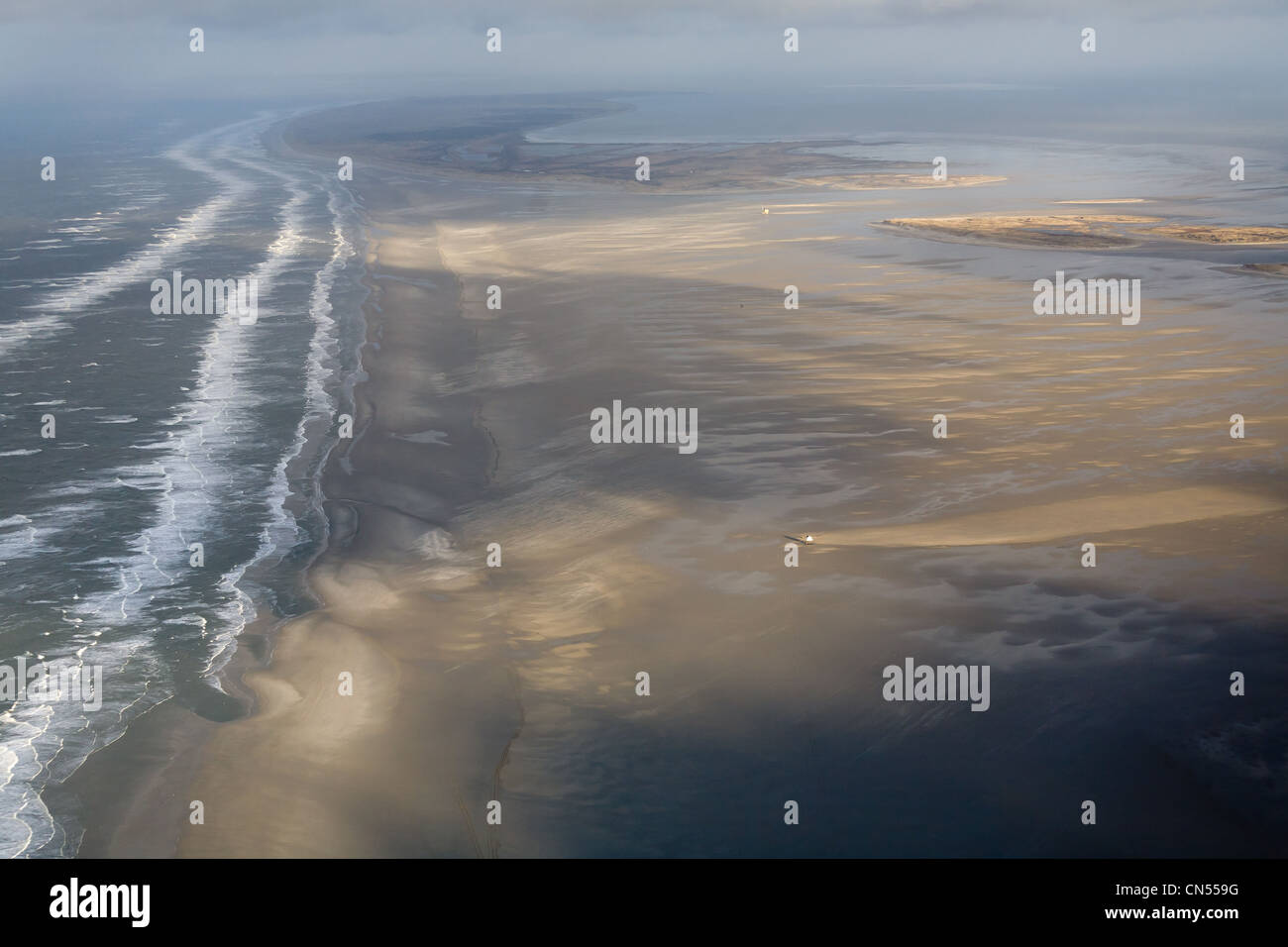 Netherlands, North Holland, Texel, the Western coast of the island (aerial view) - Stock Image