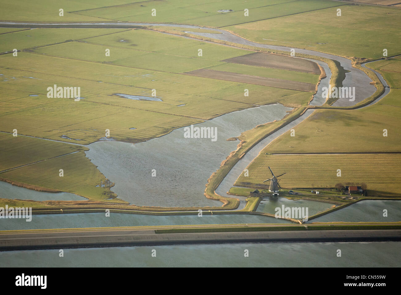 Netherlands, North Holland, Texel, the Eastern coast of the island (aerial view) - Stock Image