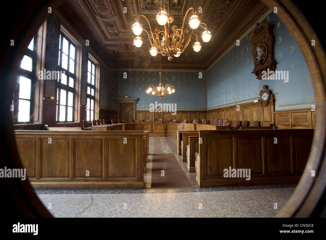 France, Isere, Grenoble, the former courtroom inside the 15th century old Dauphine Parliament, it was the Courthouse - Stock Image