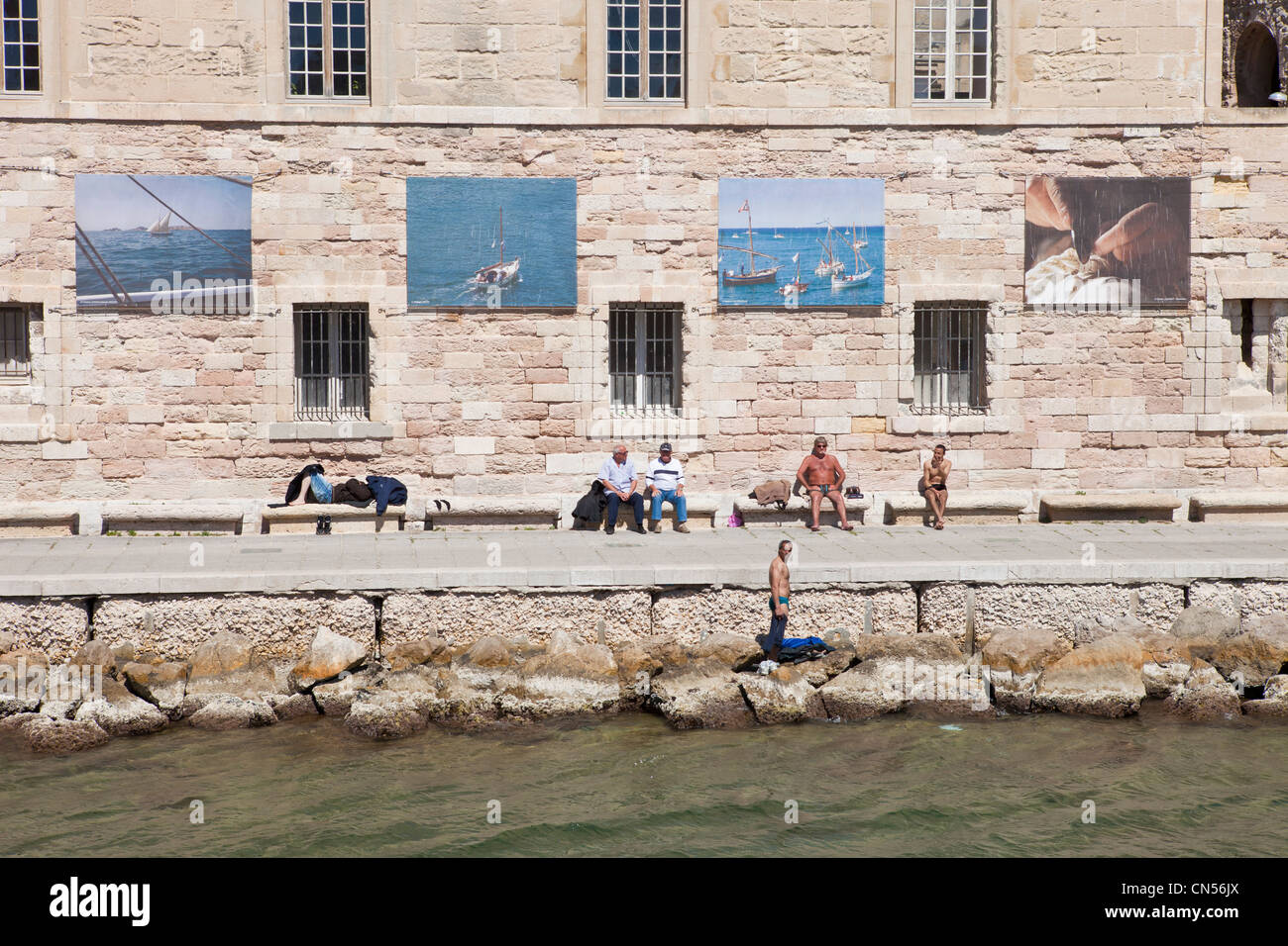 France, Bouches du Rhone, Marseille, Fort St. Jean, at the entrance of the Vieux Port Stock Photo