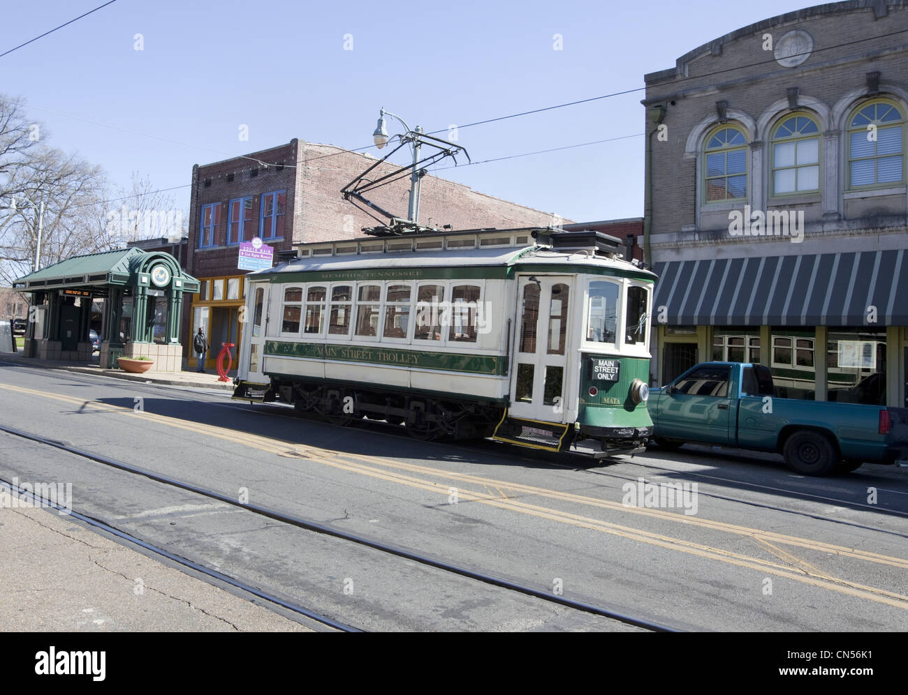 Vintage Main Street Trolley car in Memphis, Tennessee - Stock Image