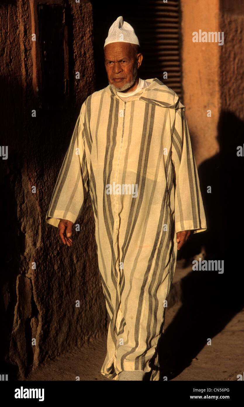 Moroccan Man Wearing A Djellaba On The Streets Of