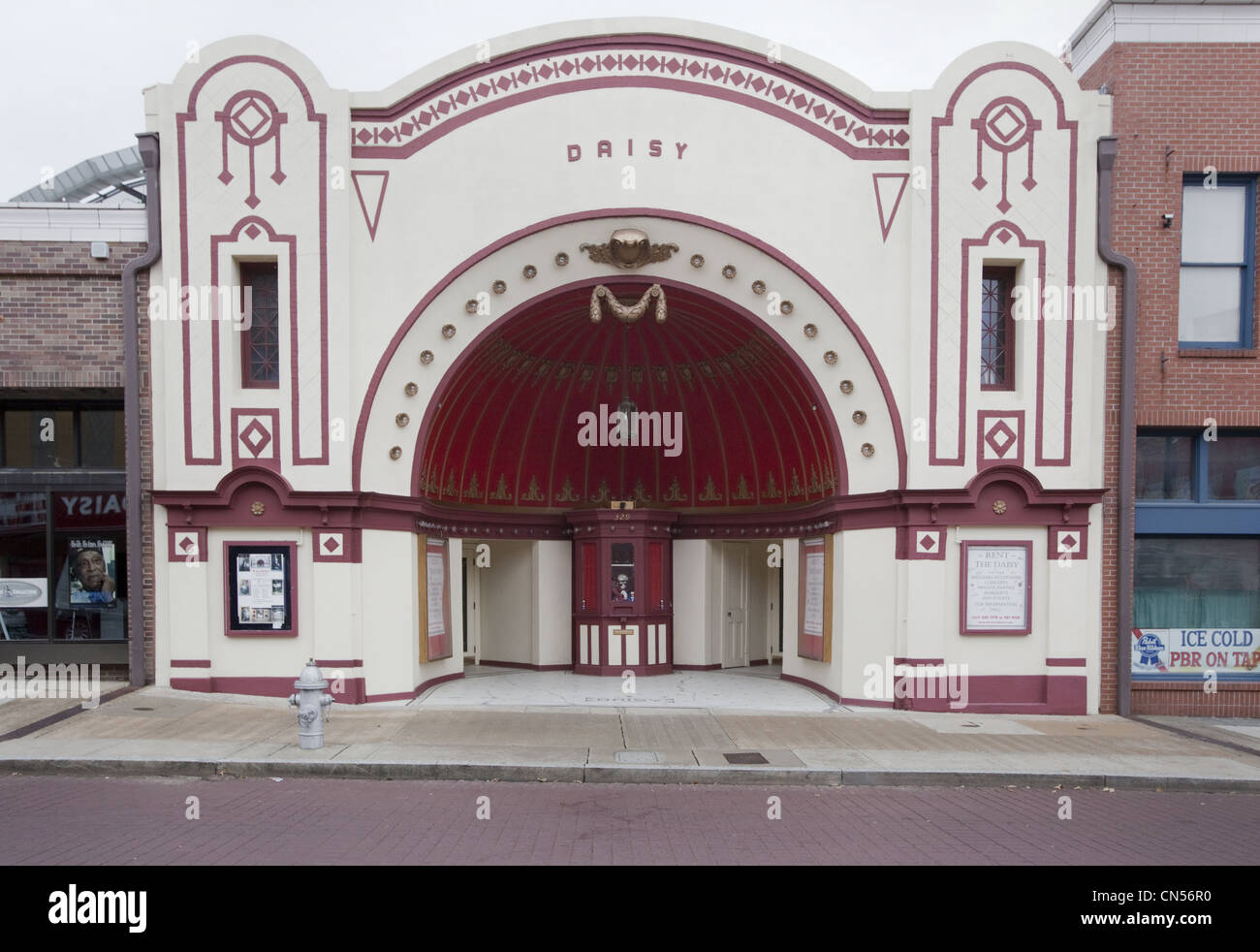 The 1902 Old Daisy Theater in Memphis, Tennessee is an example of nickelodeon architecture from the early movie - Stock Image