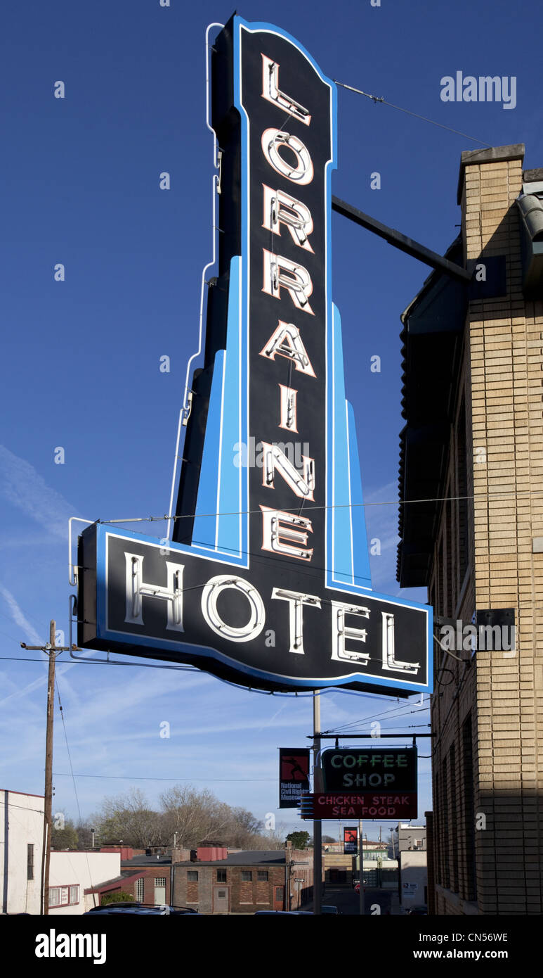 A vintage black and blue neon sign advertising the historic Lorraine Hotel in Memphis, Tennessee Stock Photo