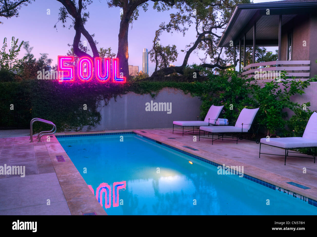 Swimming Pool At Hotel St Cecilia In Austin Texas Stock Photo