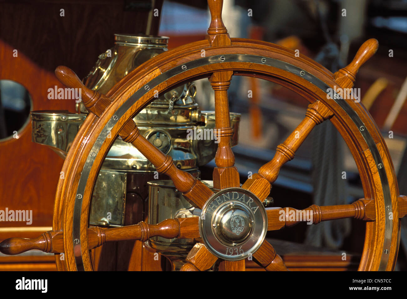France, Alpes Maritimes, Thendara, gaff ketch of 1936, steering wheel - Stock Image