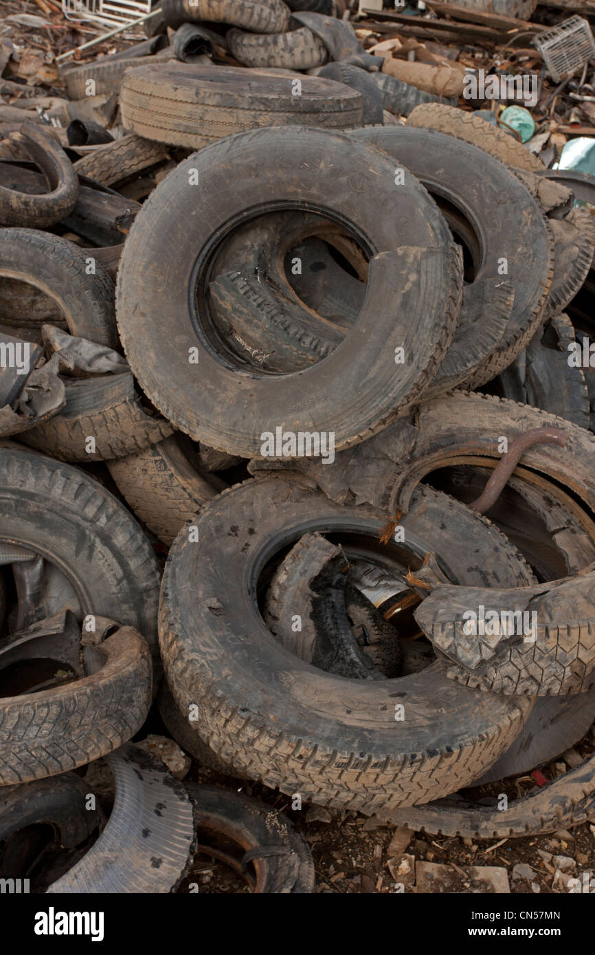 Old tires, Recycling Center, Ithaca, New York, property released - Stock Image