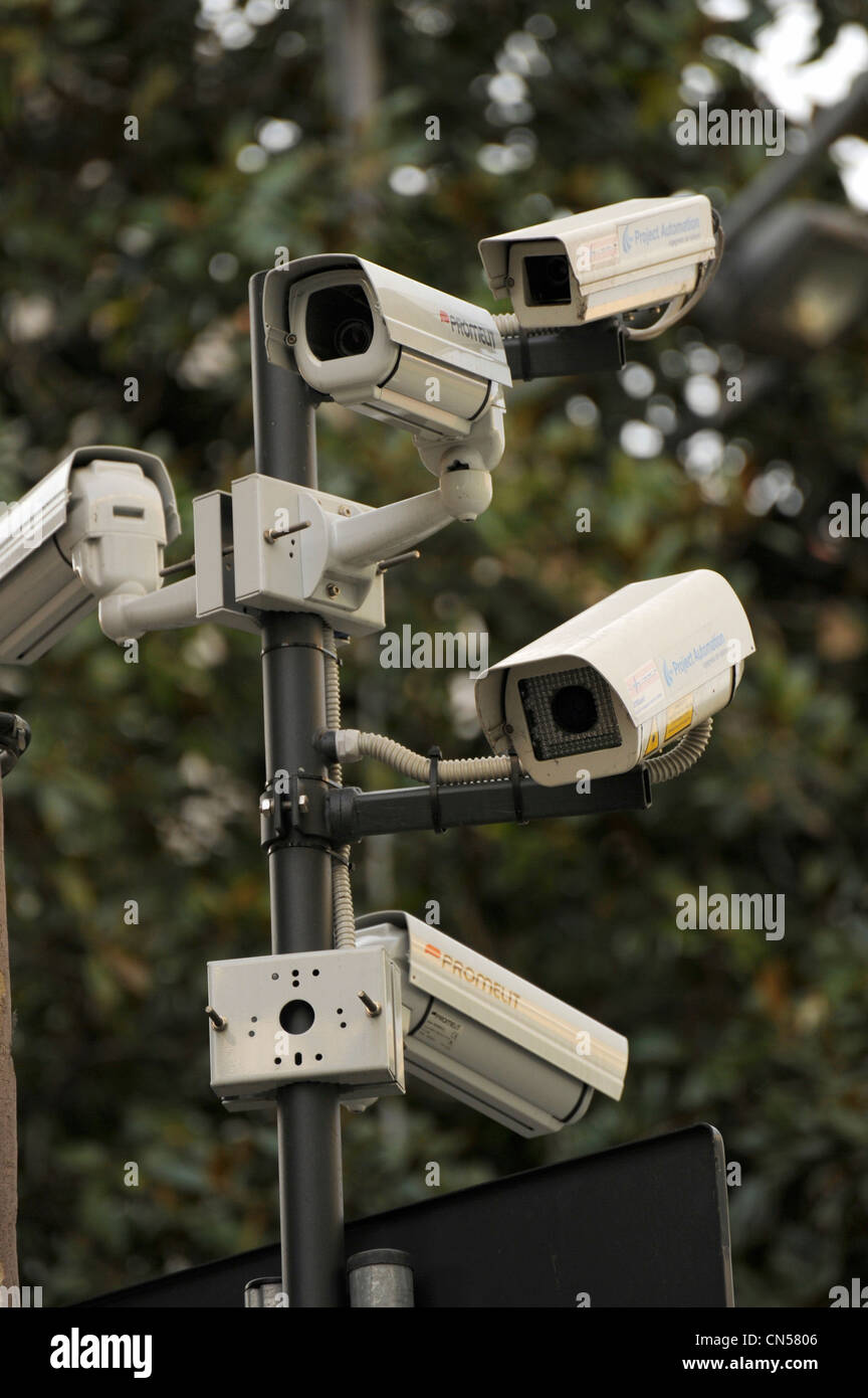 CCTV security cameras on the street in Italy Stock Photo