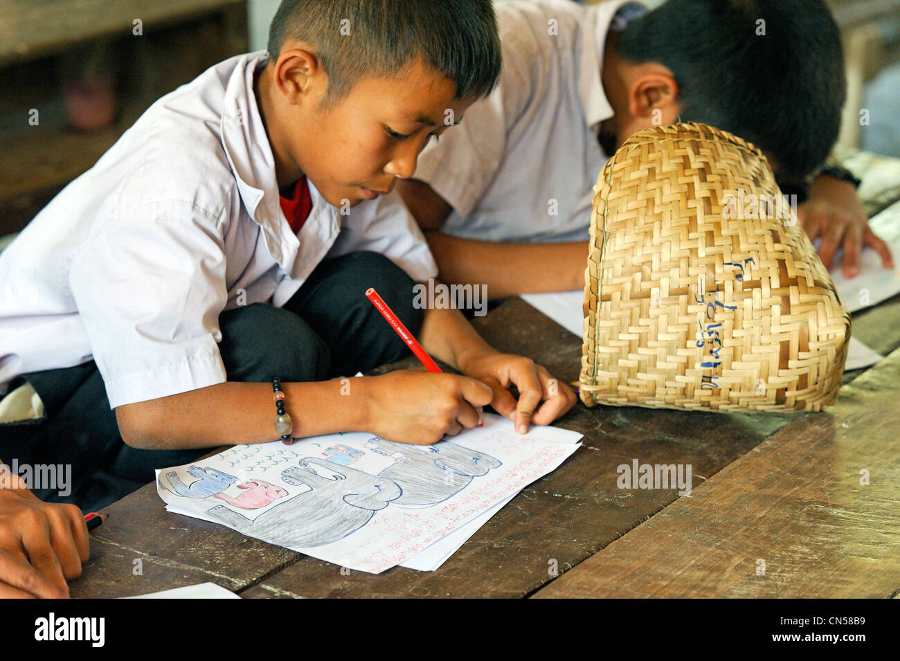 Laos, Sainyabuli Province, Hongsa, primary school, child sitting at his table schoolboy drawing an elephant - Stock Image