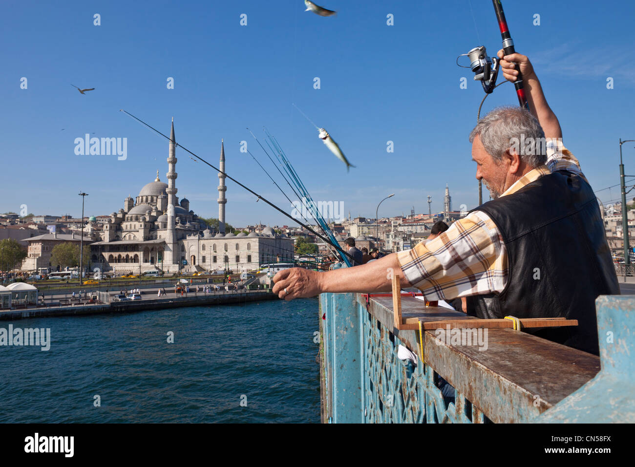 Turkey, Istanbul, strait of the Golden Horn, fishermen on Galata bridge - Stock Image