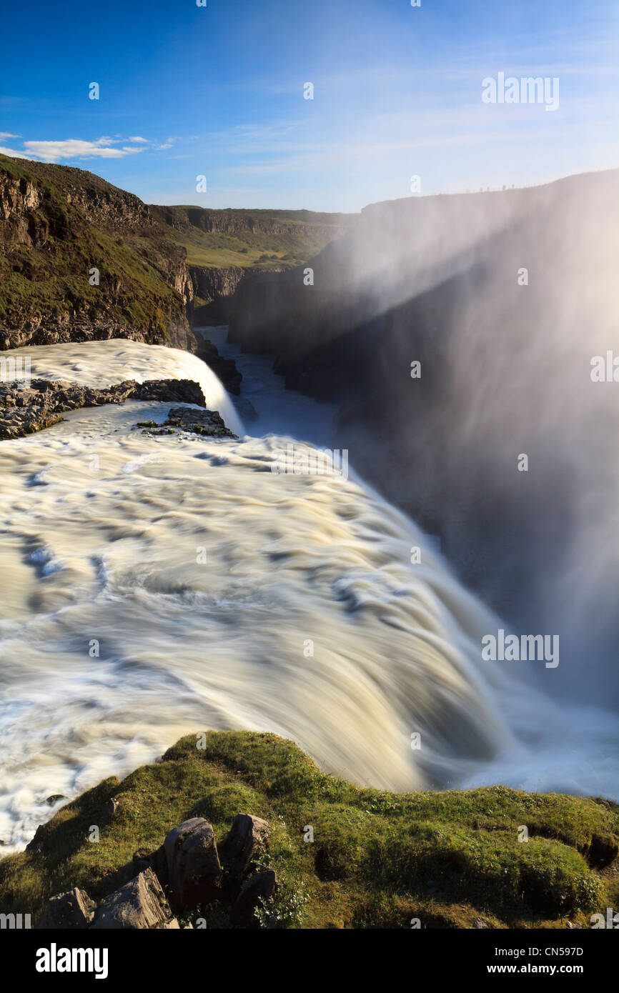 Iceland, Vesturland region, falls of Gullfoss (the golden waterfall) on the river suddenly falls Hvita 32m high - Stock Image